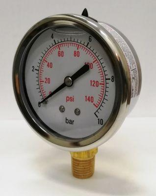 """Manometer glycerínový nerez 10 barov s radiálnym vývodom 1/4"""""""