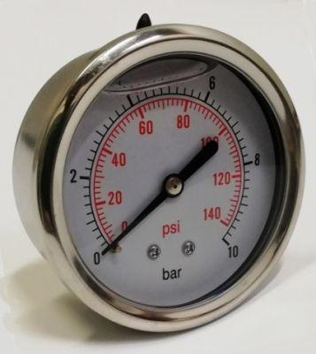 """Manometer glycerínový nerez 10 barov s axiálnym vývodom 1/4"""""""